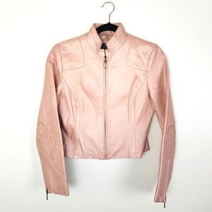 Genuine Leather Blush Pink Cropped Moto Jacket Sm